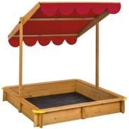 Tectake 'Sandkasten mit verstellbarem Dach', 120 x 120 cm, ab 3 Jahren, inkl. Sonnendach und Wurzelschutzplane, rot