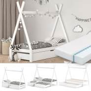 VitaliSpa Tipibett, Weiß, 90 x 200 cm, höhenverstellbar, inkl. Lattenrost, Matratze und Gästebett, Buche massiv