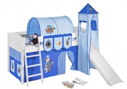 Spielbett 'LANDI/S' weiß inkl. Vorhang 'Pirat Blau'