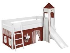 Lilokids 'Ida 4105' Spielbett 90 x 200 cm, Pferde Braun Beige, Kiefer massiv, mit Turm, Rutsche und Vorhang