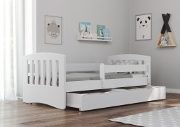 Bjird 'Classic' Kinderbett 80 x 180 cm, Weiß, inkl. Rausfallschutz, Lattenrost und Bettschublade