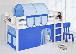Lilokids 'Jelle' Spielbett 90 x 190 cm, Blau, Kiefer massiv, mit Vorhang