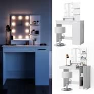 Vicco 'Julia' Schminktisch, Weiß, inkl. Hocker und LED-Lichterkette, mit Spiegel