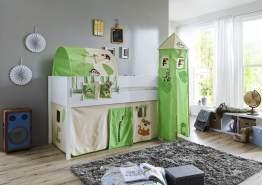 Relita 'Luka' Halbhochbett 90x200 MDF/Buche weiß lackiert, mit Vorhang, 1-er Tunnel, Tasche und Turm 'Dschungel'