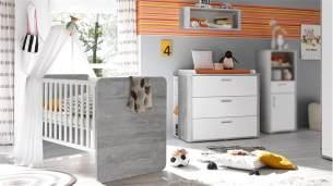 Mäusbacher Babyzimmer FRIEDA 4-tlg Wickelkommode Babybett Vintage wood grey weiß matt lackiert