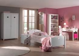 Vipack 'Amori' 5-tlg. Kinderzimmer-Set 90x200 cm, weiß, mit Bett, 2-trg. Kleiderschrank, Schreibtisch, Regal und Nachttisch