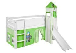Lilokids 'Jelle' Spielbett 90 x 190 cm, Pirat Grün Beige, Kiefer massiv, mit Turm, Rutsche und Vorhang