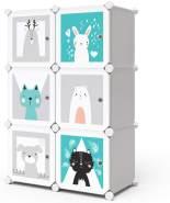 Vicco 'ANDY' Kinderschrank, DIY modular, blau/weiß/grau, mit Kleiderstange und 5 Ablagefächern