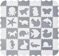 Juskys 'Timon' Puzzlematte, 36 Teile mit 16 Tieren in grau weiß, rutschfest & abwischbar