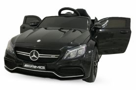 Kidcars Kinder Elektro Auto Mercedes C63 AMG 2x 25W 12V 7Ah 2. 4G RC LED Schwarz