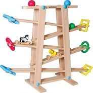 SpielMaus - Holz Kugelbahn mit Rollelementen