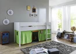 Relita 'Luka' Halbhochbett 90x200 MDF/Buche weiß lackiert, mit Vorhang grün/orange
