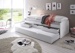 Bega 'Clara' Funktionsbett 90 x 200 cm, weiß, inkl. ausziehbarer Gästeliege, 3 Schubladen, Lattenrost