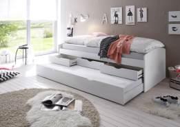 Bega 'Clara' Funktionsbett 90 x 200 cm, weiß, inkl. ausziehbarer Gästeliege, 3 Schubladen, Lattenrost, Matratze (pink)