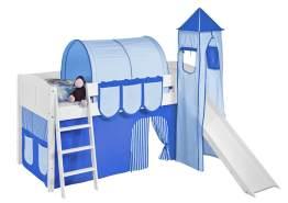 Spielbett 'LANDI/S' weiß inkl. Vorhang Blau Hellblau
