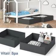 VitaliSpa Faltbox für Kinderbett 2er Set (Anthrazit)