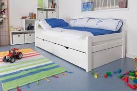 Kinderbett/JugendbettEasy Premium Line K1/2n inkl. 2 Schubladen und 2 Abdeckblenden, 90 x 200 cm Buche Vollholz massiv weiß lackiert