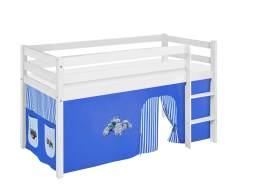 Lilokids 'Jelle' Spielbett 90 x 200 cm, Trecker Blau, Kiefer massiv, mit Vorhang