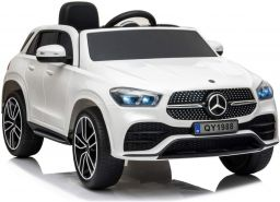 ES-Toys Kinder Elektroauto 'Mercedes GLE450' weiß, lizenziert, mit EVA-Reifen und Ledersitz