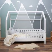 Alcube 'Mika' Hausbett 70x140 cm, weiß, Kiefer massiv, mit Rausfallschutz