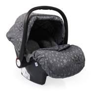 Moni Babyschale Gala Premium Gruppe 0+ (0 - 13 kg), Fußabdeckung, Sitzpolster grau Sterne