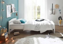 Kinderbett 'IVI' Einzelbett 90x200cm, Weiß Kiefer massiv