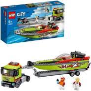 LEGO City 60254 'Rennboot-Transporter', 238 Teile, ab 5 Jahren, LKW mit Anhänger und schwimmfähigem Boot