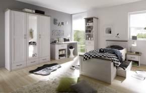 Bega 'Luca' 5-tlg. Kinderzimmer-Set 90x200 cm, weiß/trüffel, aus Bett, Nachttisch, Schrank, Regal und Schreibtisch