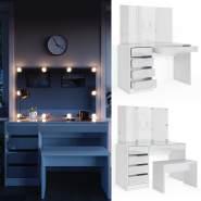 Vicco 'Sherry' Schminktisch, weiß, inkl. Bank und LED-Beleuchtung, mit Spiegel und 5 Schubladen