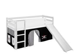 Lilokids 'Jelle' Spielbett 90 x 200 cm, Pirat Schwarz Weiß, Kiefer massiv, mit Rutsche und Vorhang