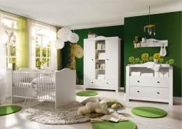 Storado 'Paris' 5-tlg. Babyzimmer-Set, weiß matt/dunkle Griffe