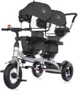 Chipolino Tricycle Dreirad 2Play zwei Kinder bis 50 kg Luftreifen Lenkstange schwarz