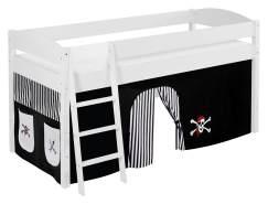 Lilokids 'Ida 4105' Spielbett 90 x 200 cm, Pirat Schwarz Weiß, Kiefer massiv, mit Vorhang
