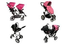 Babyfivestar Geschwisterwagen Pink / Schwarz inkl. einer Babyschale