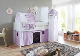 Relita 'Luka' Halbhohes Bett 90x200 MDF/Buche weiß lackiert, mit Vorhang, 1-er Tunnel, Tasche und Turm