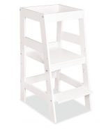 Bellabino 'Pim' Lernturm, Tritt 3-fach höhenverstellbar, Buche lackiert weiß, Massivholz