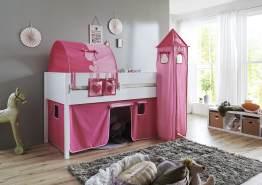 Relita 'Luka' Halbhochbett 90x200 MDF/Buche weiß lackiert, mit Vorhang, 1-er Tunnel, Tasche und Turm pink/rosa/herz