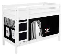 Lilokids 'Jelle' Etagenbett 90 x 190 cm, Pirat Schwarz Weiß, Kiefer massiv, mit Vorhang und Lattenroste