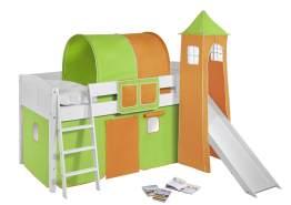 Spielbett weiß inkl. Turm und Vorhang Grün Orange