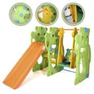 Baby Vivo 'Spielplatzschaukel / Spielgerüst mit Rutsche-Jungle', ca. 145 x 128 x 108 cm (LxBxH), ab einem Jahr, bis 15/30 kg belastbar, gelb/orange/grün