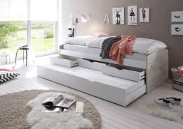 Bega 'Clara' Funktionsbett 90 x 200 cm, beige weiß, inkl. ausziehbarer Gästeliege, 3 Schubladen, Lattenrost, Matratze (blau)