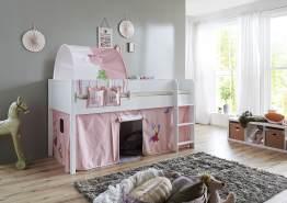 Relita 'Luka' Halbhohes Bett 90x200 MDF/Buche weiß lackiert, mit Vorhang, 1-er Tunnel und Tasche Princess