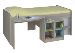 Polini Kids Kinderbett 'Simple 4000' inkl. Schreibtisch und Regal in Ulme