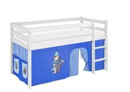 Lilokids 'Jelle' Spielbett 90 x 200 cm, Pirat Blau, Kiefer massiv, mit Vorhang