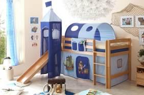 Rutschbett mit Turm Toby R Buche Natur - Pirat hellblau-dunkelblau