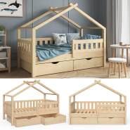 VitaliSpa 'Design' Kinderbett 80 x 160 cm, natur, Massivholz Kiefer, inkl. 2 Schubladen