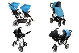 Babyfivestar Geschwisterwagen Blau inkl. einer Babyschale
