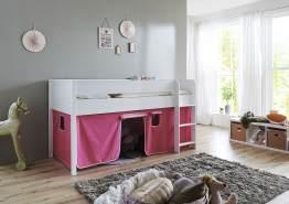 Relita 'Luka' Halbhochbett 90x200 MDF/Buche weiß lackiert, mit Vorhang pink/rosa