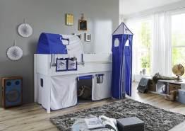 Relita 'Luka' Halbhochbett 90x200 MDF/Buche weiß lackiert, mit Vorhang, 1-er Tunnel, Tasche und Turm weiß/Delfin