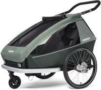 Croozer 'Kid Vaaya 2' Fahrradanhänger 2020, Jungle Green, 2-Sitzer, inkl. Fahrrad-Set, Buggyrad, Wetterverdeck, Kopfpolster, integriertes Sensor-Licht